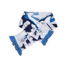 OEM Produce logotipo personalizado impreso bufanda de algodón blanco de fútbol