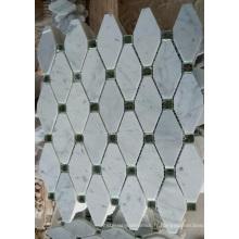 Mosaïque de mosaïque d'octogone Mosaïque de pierre de marbre blanc (HSM210)
