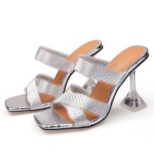 2021 New women sandals PVC grey jelly sandals crystal summer ladies shopping high heel transparent slipper