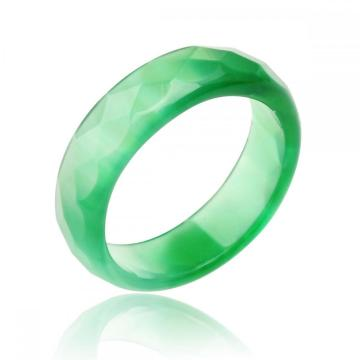 Natural 6MM Green Agate Gemstone Faceted Rings