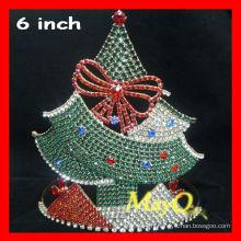 Belle couronne de concours de cristal de Noël, couronne de tiare de sapin de Noël, tiare sur mesure pour Noël