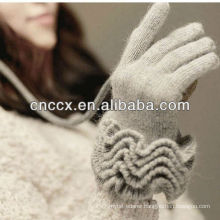 13ST1018 noble ladies fashion ruffle pure woolen hand glove