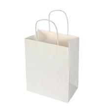 Bolso de compras de papel Kraft blanco sin impresión