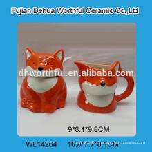 Conjunto de açúcar e creme de raposa cerâmica com colher para venda por atacado
