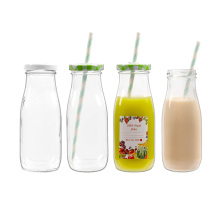 Hot sale 12oz 350ml round Reusable Clear Glass Juice Milk Bottles drink with metal Lids