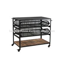 Industrie-Metall-und Holz-Schubladen mit Rädern Küche Wagen