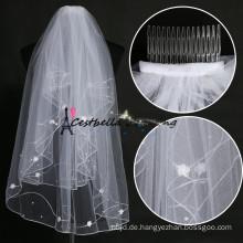 Günstige Hochzeit Schleier bei Verkauf Weiß Brautschleier Applikationen Schleier