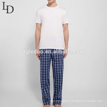 Pyjamas confortables hommes à carreaux respirant à carreaux