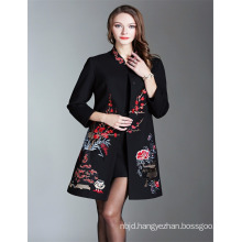 2018 New Black Embroidered Trench Coat Women Winter Autumn