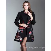 2018 Новый Черный Вышитые Пальто Женщин Зима Осень