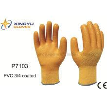 Poliéster Shell PVC 3/4 guantes de trabajo de seguridad recubiertos (P7103)