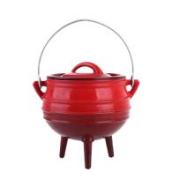 Pote redondo de esmalte de hierro fundido con tres leggs para un plato preparado al aire libre