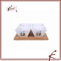Деколь узор керамические тапас блюда набор с бамбуком лоток