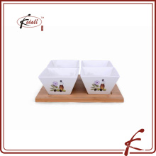 Platos de tapas de cerámica de diseño de calcomanía conjunto con bandeja de bambú