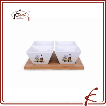 decal pattern ceramic tapas dishes set with bamboo tray