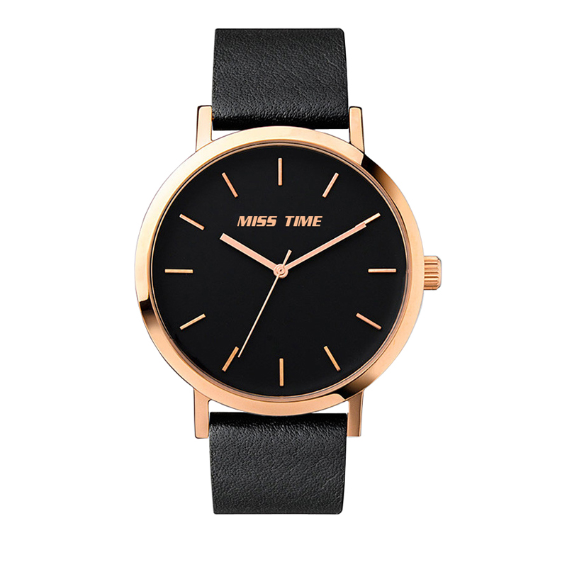 Black genuine leather band strap ladies watch