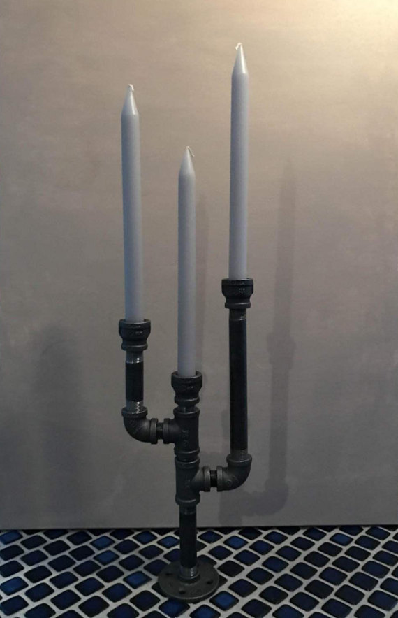Iron Candelabra 3 Arm benutzerdefinierte industrielle Steampunk Armaturen
