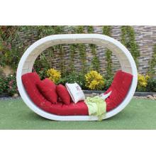Poly Rattan O Shape Daybed ou Sunbed com Arco Acima para Outdoor Garden Beach Resort Pool