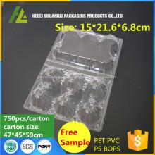 Bandeja de embalaje de huevos de plástico transparente