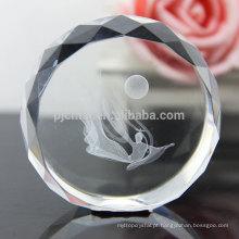 Paperweight de cristal grande da forma redonda como a decoração de cristal do ofício