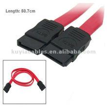 18 pulgadas de 7 clavijas hembra de enchufe ATA Serial ATA cable de datos rojo