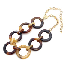 Factory ODM round circle leopard link necklace for women mottled resin chain necklace