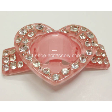 Heart-Shaped acrilico strass Buckle