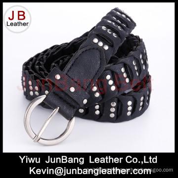 Moda Ladie's PU Braid Belt com rebite