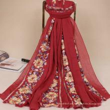 Nueva llegada al por mayor mujeres bufanda hijab bordado diseños bordado floral hijab