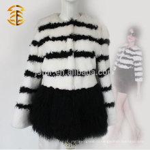 2017 Новый дизайн женщин подлинной кроличьей шерсти классическое пальто