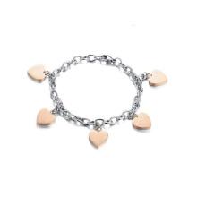 Alta qualidade coração charme titanium tornozelo de aço pulseira, pulseira de tornozelo cadeia de jóias em massa