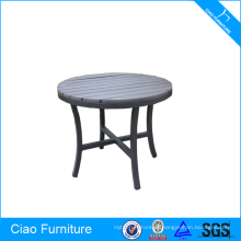 Mesa de alumínio para exterior de mesa de alumínio com estrutura em madeira