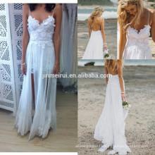 White Boho Stunning Low Open Back Lace Lining and Chiffon Dreamy Layering Beach Bridal Wedding Dress
