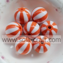 16MM 500pcs/lot Orange Resin Beads,Resin Gumball Beads For Chunky Jewelry Making,Resin Striped Beads Round for Chunky Necklace