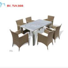 Патио ротанга обеденный стол и стул для напольного (CF1034T+8004AC)