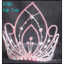 Mode grande couronne courtes couronnes personnalisées grande strass Rose rhinestone asiatique