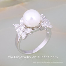 weiße Süßwasser Silber Perle Zubehör Ring Designs Mode-Accessoire Rhodium überzogene Schmuck ist Ihre gute Wahl