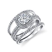 Joyería de la boda 925 anillos de zirconia cúbicos de plata para las mujeres