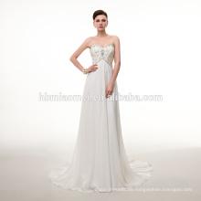 Art und Weise Fußboden-Länge Braut Hochzeitskleid weiße Farbe Spitze sexy Brautkleid mit Spaghetti-Träger