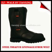 botas de trabajo de invierno con puntera de acero y forro de piel genuina