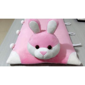 Pure and fresh and upright ears pink rabbit flat pillow mat