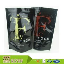 Usine en gros Stand Up cachet solide côté / fond Logo impression en plastique rapide Fast Food Sac pochette