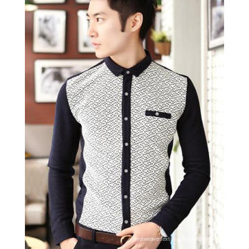 Camisa de Manga Longa Lazer / Casual Standing Collar Moda Masculina