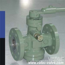 Cast Steel Ss304/Ss316 RF Flanged Lever Operated Lubricated Plug Valve