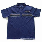 Men's Polo Shirt with Pigment Printing, Available in Navy Blue