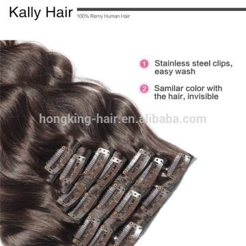 grampo remy indiano virgem das extensões do cabelo na venda por atacado do cabelo indiano