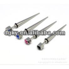 Farben Diamant Stein chirurgischen Stahl Ohr Kegel Piercing