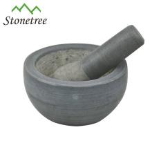 Almofariz e pilão de granito preto para moedor de ervas