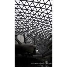Construction d'un toit en verre en acier préfabriqué pour centre commercial