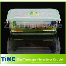 Boîte rectangulaire élevée de storate de nourriture de Borosilicate 900ml avec la couverture serrée en plastique